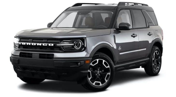 A silver 2021 Ford Bronco Sport Badlands is angled left.