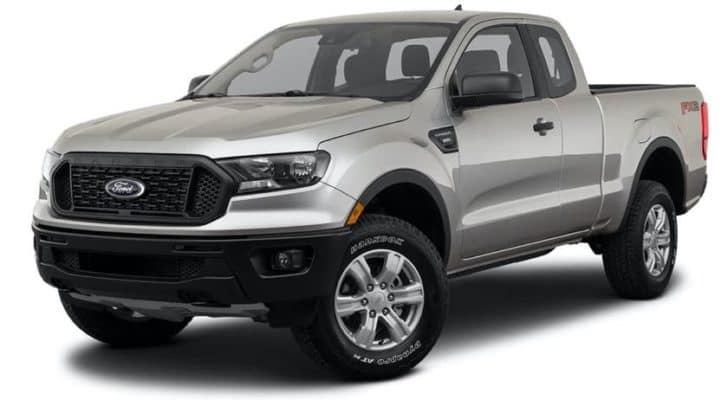 A silver 2021 Ford Ranger XL is angled left.