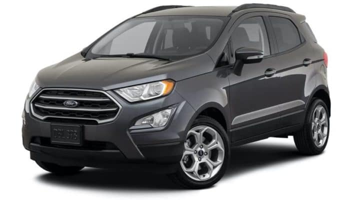 A dark grey 2021 Ford EcoSPort is angled left.