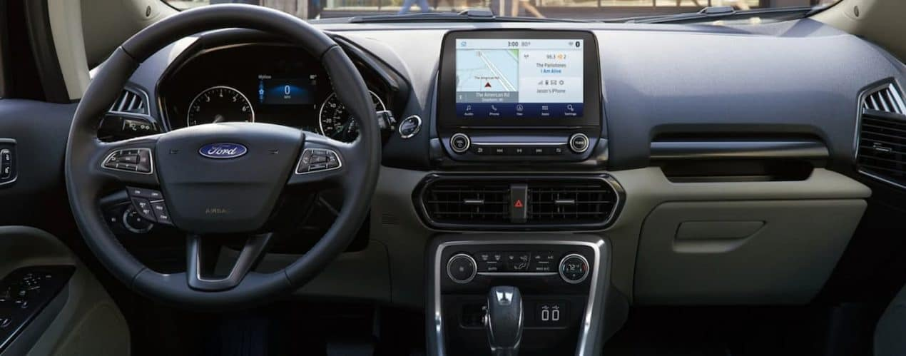 The wheel and screen are shown in a 2021 Ford EcoSport.