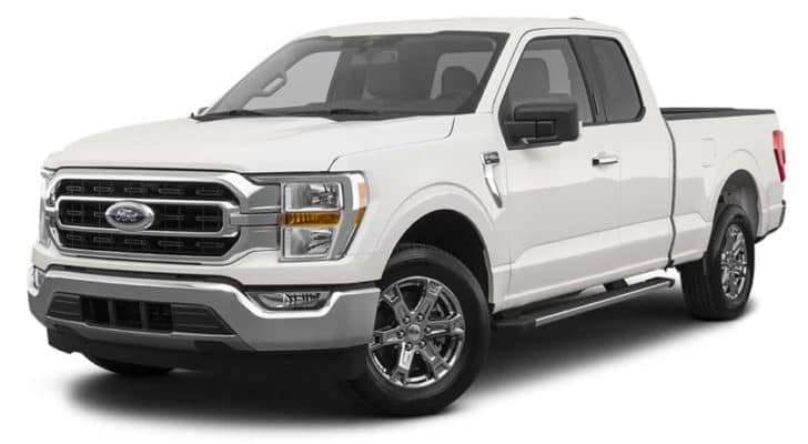 A white 2021 Ford F-150 XLT is angled left.