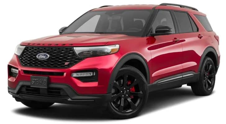 A red 2021 Ford Explorer ST is angled left.