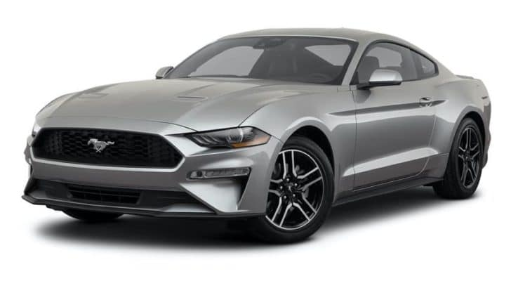 A silver 2021 Ford Mustang is angled left.