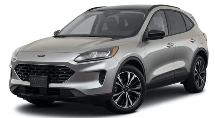 A silver 2021 Ford Escape Hybrid SE is angled left.