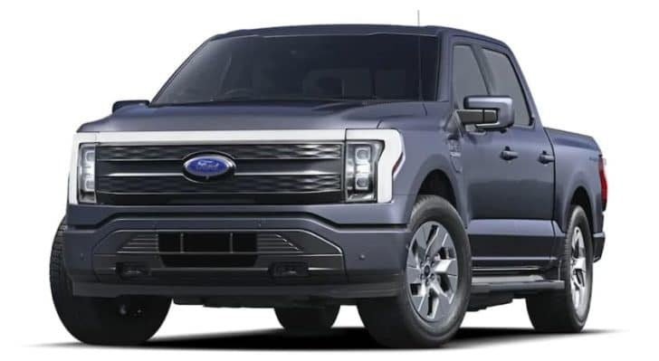 A blue 2022 Ford F-150 Lightning is angled left.