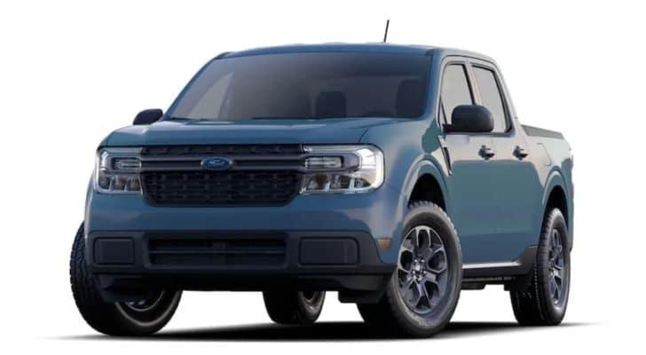 A blue 2022 Ford Maverick XLT is angled left.