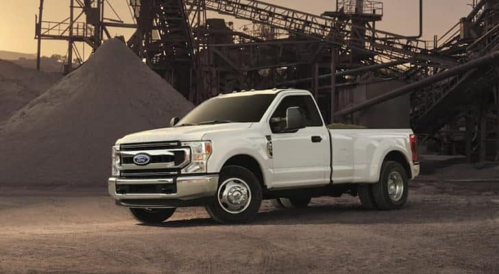 A white 2022 Ford Super Duty is shown angled left.