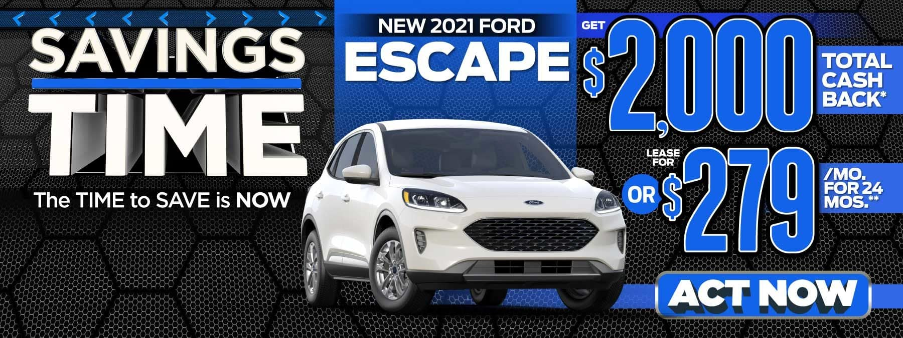 New 2021 Ford Escape - Get $2,000 total cash back - Act Now
