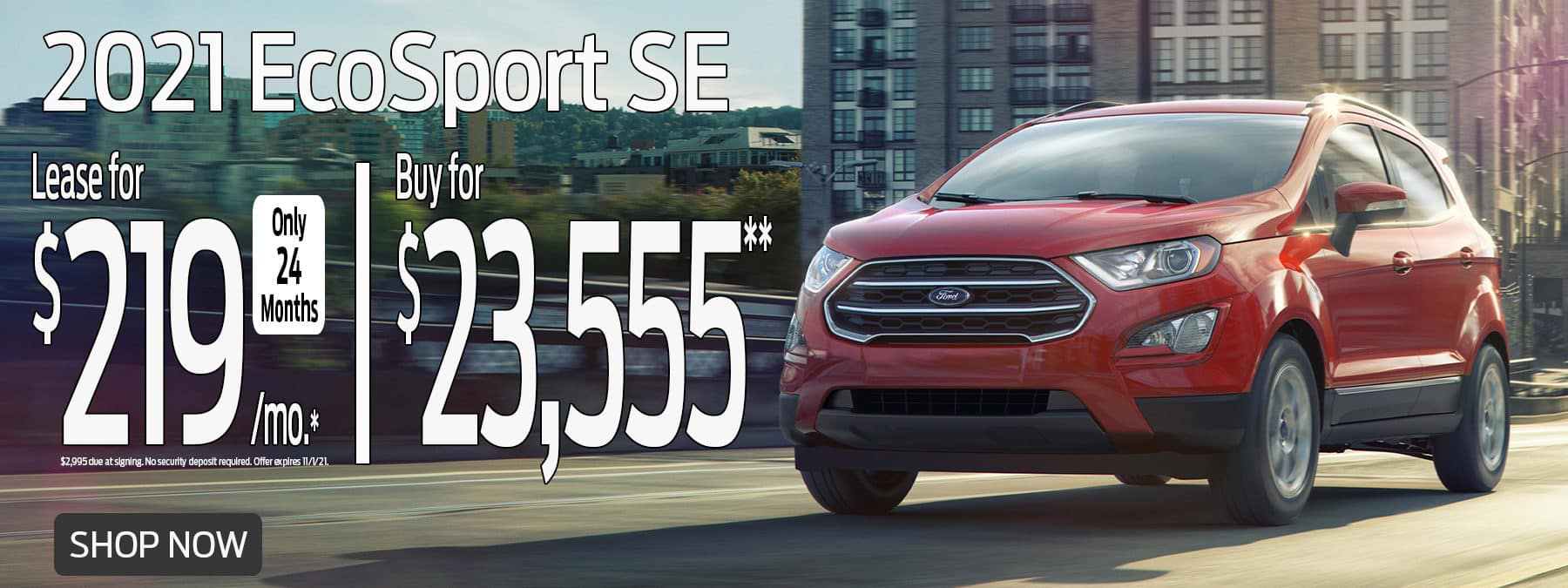2021 EcoSport Special Lease Offer