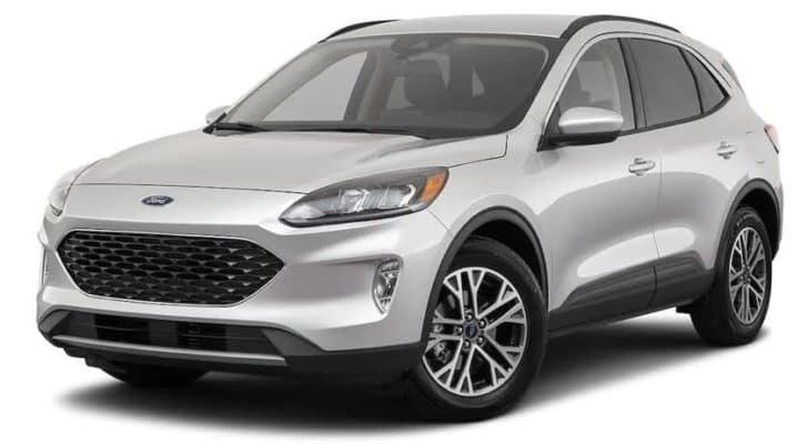 A silver 2021 Ford Escape SEL is angled left.