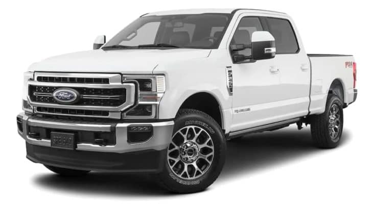 A white 2021 Ford F-250 Super Duty is angled left.