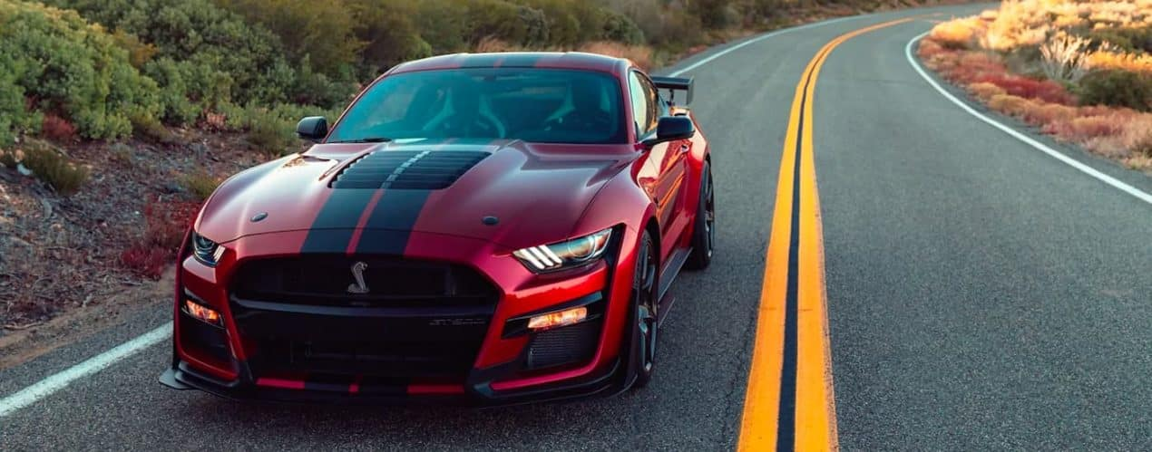 A red 2021 Ford Mustang Shelby GT500 is shown from the front while parked on an empty road.