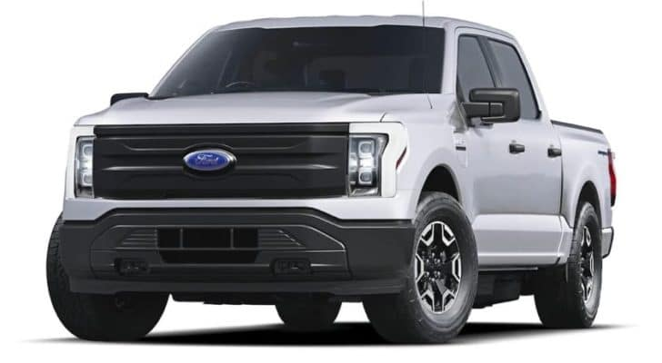 A white 2022 Ford F-150 Lightning Lariat Pro is angled left.