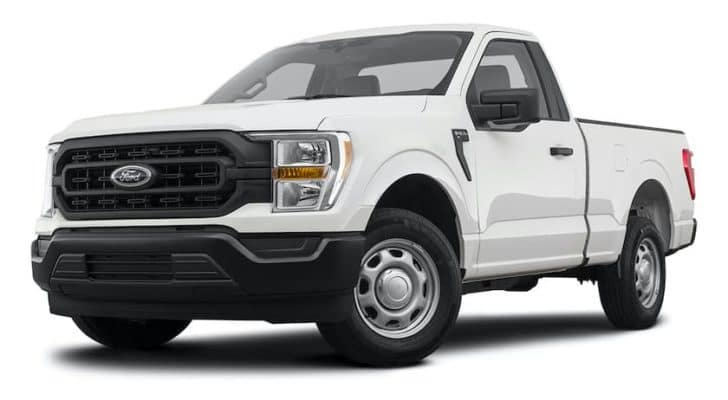 A white 2021 Ford F-150 is shown angled left.