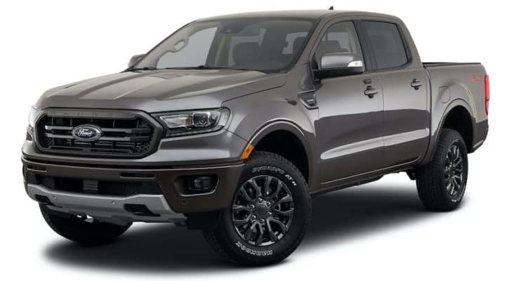 A grey 2021 Ford Ranger is shown angled left.