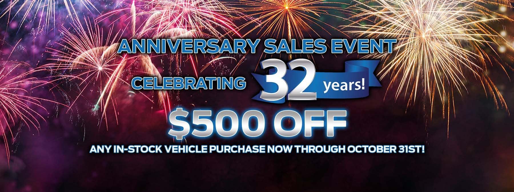 $500 Off Anniversary Sales Event